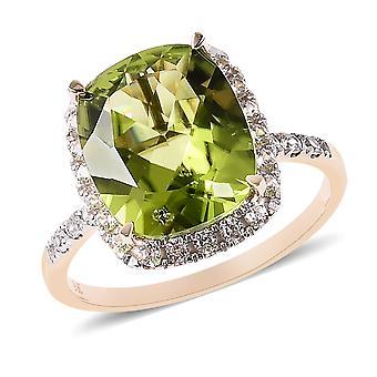 AA Peridot 9ct Gul Guld Halo Ring for kvinder Hvid Zircon, 5,86 Ct TJC