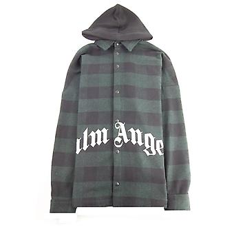 Palm Angels Logo Print Hooded Overshirt Forest Green
