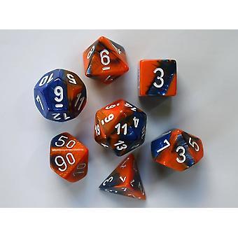 Chessex Gemini Polydice Set - Blue-Orange w/white