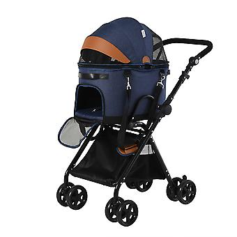PawHut Luxury Folding Pet Stroller Removable Carrier Adjustable Canopy 4 Wheels Storage Bag Mesh Windows Brake for Small Medium Dog Cat Blue