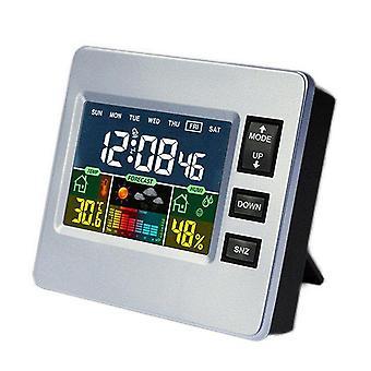 Loskii dc-07 digital temperature hygrometer alarm clock weather forecast trends calendar function alarm clock
