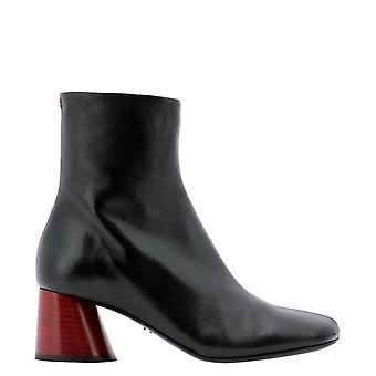 Halmanera Odile02nerorosso Women's Black Leather Ankle Boots