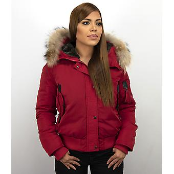 Short Winter coat - With Large Fur Collar - Red