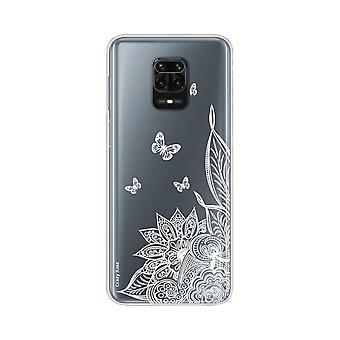 Coque Pour Xiaomi Redmi Note 9 Pro Souple Mandala Fleur Et Papillons Blanc