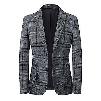 YANGFAN Men's Casual Plaid Two-button Suit Jacket
