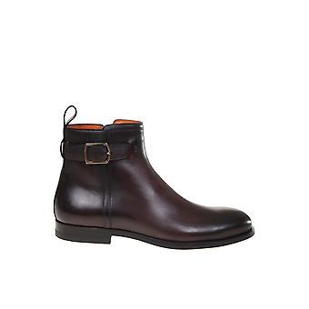 Santoni Mgnp17310smoiclbq49 Men's Brown Leather Ankle Boots