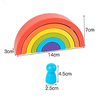 Montessori Creative Rainbow Building Blocks - Wood Jenga Game Early Educational Toys For Kids (rainbow)