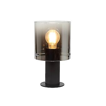Table Lamp, 1 Light Table Lamp E27, Black, Smoke Fade Glass
