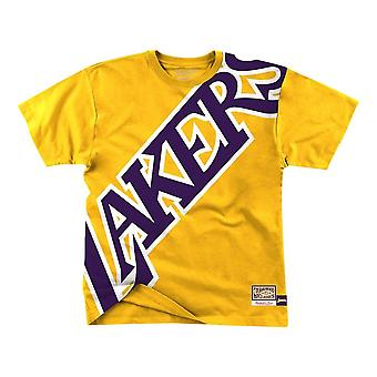 Mitchell & Ness Big Face Nba Los Angeles Lakers SSTEBW19070LALGOLD basket-ball toute l'année hommes t-shirt