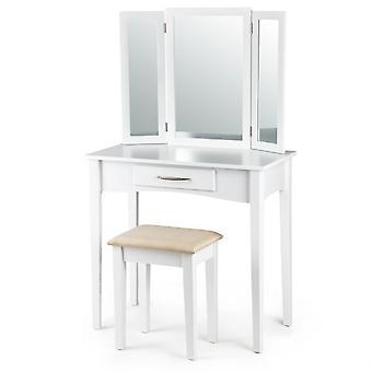 Mesa de vestir de madera blanca con taburete y espejo ajustable 80x40x135 cm