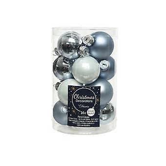 16 3,5 cm wit en blauw mix glas kerstboom kerstballen decoraties