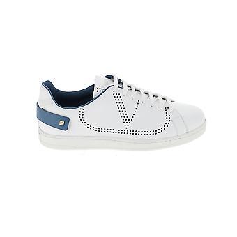 Valentino Garavani Ty0s0c04dyh31e Heren's Wit/blauw lederen sneakers