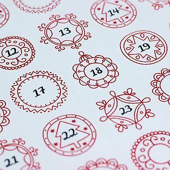 Vermelho ornamentado advento Natal adesivos x 35 ofício única folha