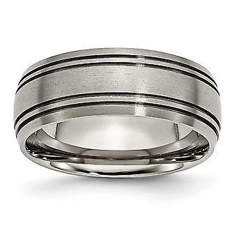 Titan gebürstet poliert Schlossdrücker gerillt 8mm Satin Bandring - Ring-Größe: 8 bis 14