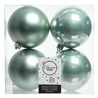 4 Eucalyptus Green 10cm Shatterproof Christmas Tree Bauble Decorations