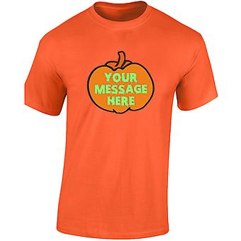 Uw tekst Pompoen Halloween Glow In The Dark Mens T-Shirt 10 kleuren (S-3XL) door swagwear