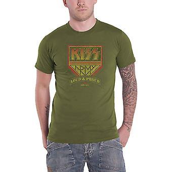 Kiss T Shirt Loud e Proud Band Logo novo Oficial Mens Militar Green
