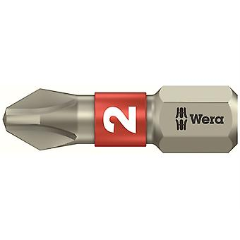 Wera 3851/1 TS Phillips PH2 Torsion Insert en acier inoxydable Bit 25mm WER071011