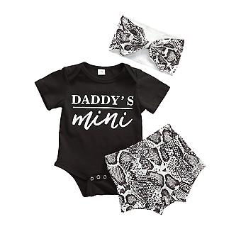 Daddy's Mini Printed- Shorts Sleeve Tops, Shorts And Headband For Babies