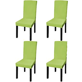 Straight Stretch Chair Cover 4 Pieces Green