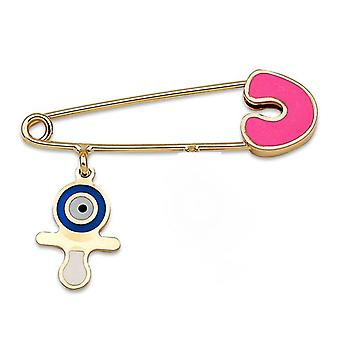 Pacifier & Evil Eye Gold Baby Pin
