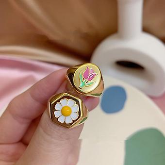 Korea New Hot Small Daisy Tulip Metal Pendant, Necklace, Rings, Bracelet