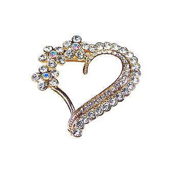 Large Gold Heart Diamante Embellishment with Small Flowers