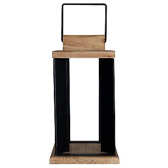 Natural Wood and Black Metal Open Lantern Decor