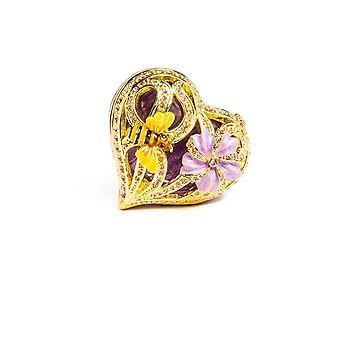 Golden Purple Heart Decorative Box Trinket Box