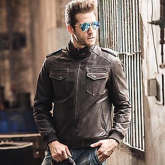 Men's Pigskin Motorcycle Real Leather Jacket Padding Cotton Winter Warm Coat