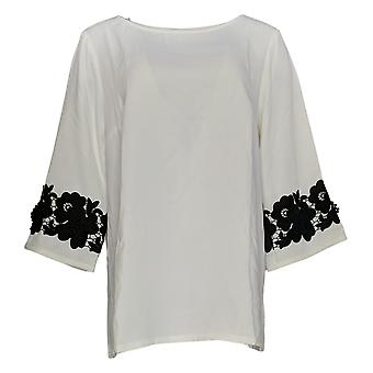 Linea door Louis Dell'Olio Women's Top Pullover Lace Applique Ivory A347453