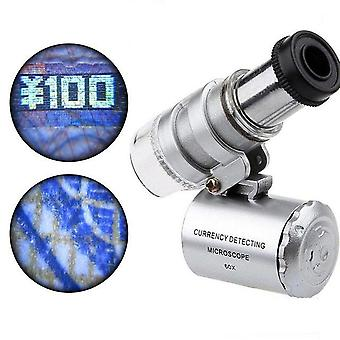 Mini 60x Microscope Led, Jewelry Loupe, Uv Currency Detector, Magnifier Eye