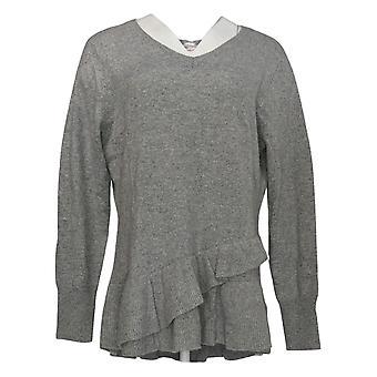 Isaac Mizrahi Live! Frauen's Cashmere Rüschen Peplum Pullover grau A343270