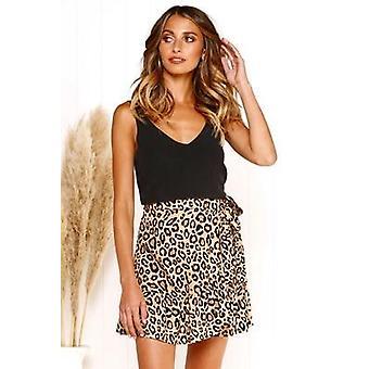 נשים קצרות דפוס רב נקודה קיץ קפלים מותניים גבוהים פפיון מיני חצאיות