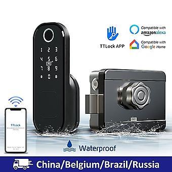 Sem fiação Wifi Fingerprint Smart Card Digital Code Fechadura eletrônica