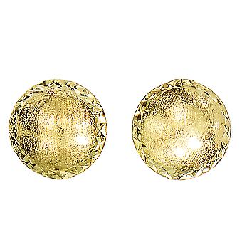 14 ك الحرير الذهب الأصفر مع الماس قطع حواف مسمار أقراط، 8 مم