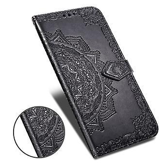 Redmi Note 7 Kukkalompakko Puhelimen kotelon kansi - Musta