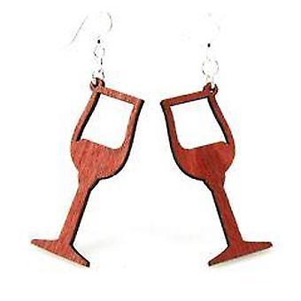 Viinilasin muotoinen, laserleikatut puukorvakorut