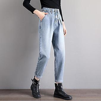 Straight Harem Jeans, Women Vintage High Waist Plus Size, Denim Pants