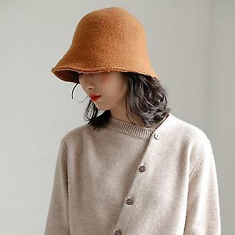 Egyszínű gyapjú vödör kalap női és apos;s őszi téli halász vintage kötés