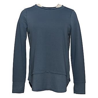 Cuddl Duds Women's Top Lightweight Comfort Pullover Rib Detail Blue A391558
