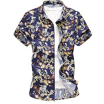 Yunyun Men's Printed Lapel Short-sleeved Button Shirt