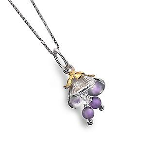 Sterling Silver Pendant Necklace - Origins Flower + Gold Plated + Amythest Bead