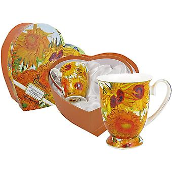 CARMANI - Set of 2 Fine Bone China Mug for Tea, Coffee in a Heart Shape Gift Box with Vincent Van