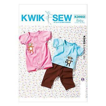 Kwik Sew Sewing Pattern 3982 Baby Infant Tops Pants Romper Size S-XXL