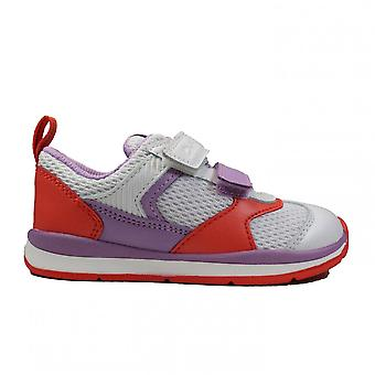 Clarks Ferris Run Toddler Lilac Combi Leather/Mesh Childrens Trainers