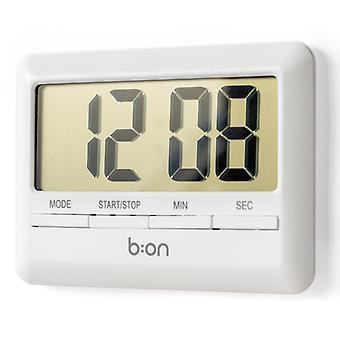 timer & Uhr digital 10 cm Kunststoff weiß
