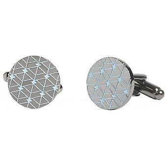 Simon Carter West End Fractal Cufflinks - Gris/Azul Pálido