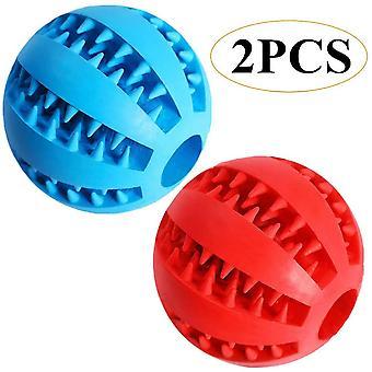 2 pièces Animaux de compagnie Chien Nontoxic Toy Ball Treat Feeder 7cm Avec deux couleurs