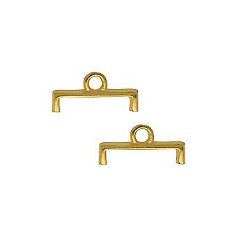 Terminaciones de cuentas de platillo para 11/0 Delica &Round Beads, Topolia II, 5.5x11.5mm, 4 piezas, 24k chapado en oro